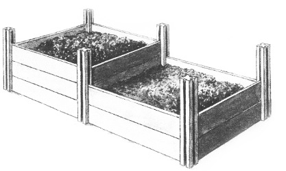 In solchen Kompost-Hochbeeten kann man Kompost progressiv entstehen lassen.