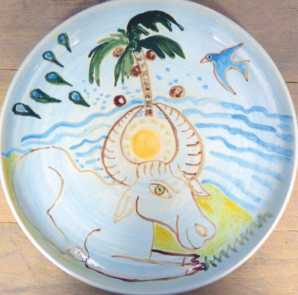 EM-Teller, gestaltet von der Dresdener Künstlerin Christiane Latendorf
