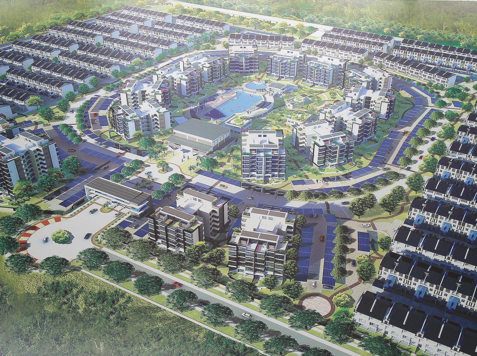"""Planzeichnung des Wohnkomplexes """"The Seed"""" (dt. Der Keim) in dem neuen Öko-Stadtteil Taman Sutera Utama"""