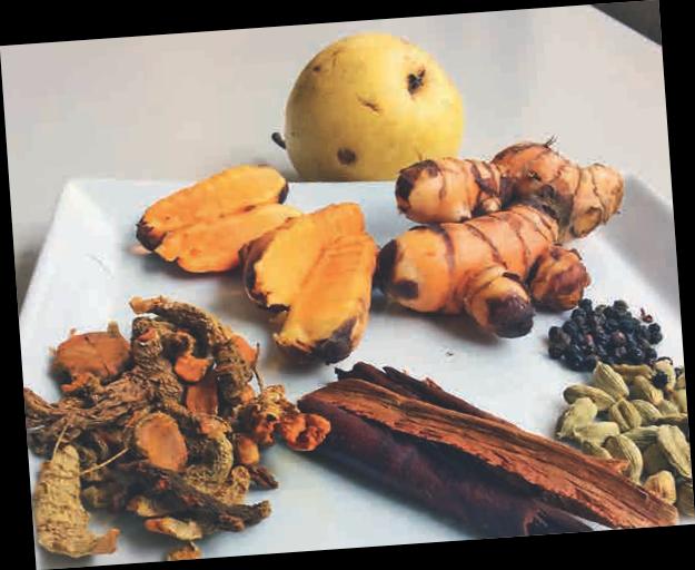 Kurkuma-Wurzel, aufgeschnitten und getrocknet, Pfefferkörner, Kardamonkapseln, Zimt und eine Birne liegen für das Grundrezept bereit.