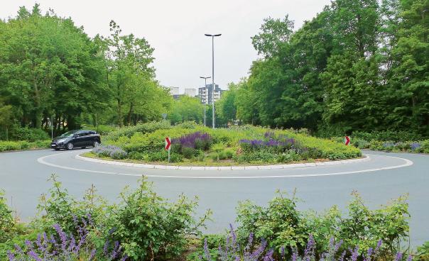 Zum Projekt gehörende Verkehrsinsel und neu gepflanzte Bäume in der Gemeinde Kinderhaus